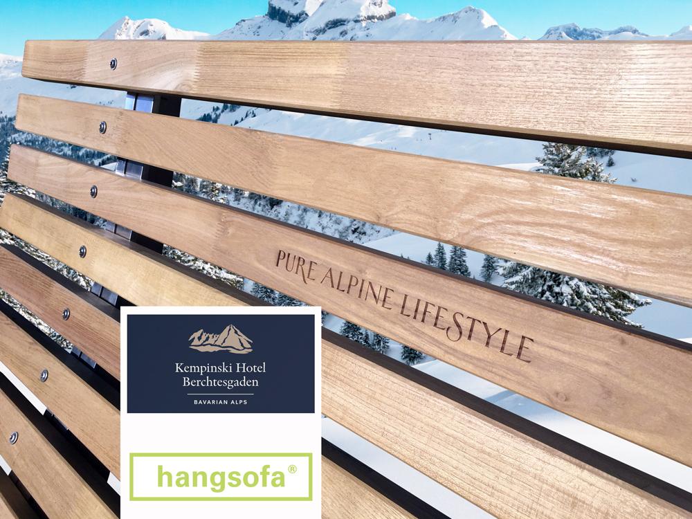hangsofa mit Gravur für Kempinski Berchtesgaden Hotel
