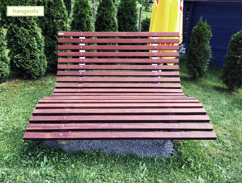 Wetterfeste hangsofa Gartenliege mit braunem Holz